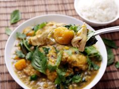This fragrant, hearty, Thai-style chicken curry tastes like it took hours to prepare, but it cooks in a pressure cooker in just 20 minutes. Pieces of sweet kabocha squash and eggplant break down into the coconut-milk-based sauce, thickening it and adding layers of flavor.