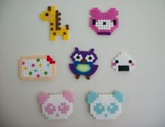 Cute kawaii creations made from perler/hama beads, some turned into magnets . Make a pegboard bead magnet in under 90 minutes by pegboarding and fusing with perler beads. Inspired by japanese, creatures, and kawaii.