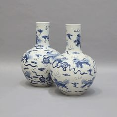 Fu Dog Collar Vases - Hard painted porcelain vase in white and blue colours