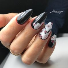 36 Perfect and Outstanding Nail Designs for Winter dark color nails; nude and sparkle nails; Dark Color Nails, Nail Colors, Dark Nail Art, Black Nail, Winter Nail Designs, Grey Nail Designs, Beautiful Nail Art, Gorgeous Nails, Cute Nails