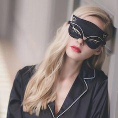 Duplex Silk Sleeping Eye Mask Sexy Fox Eye Shade Sleep Mask Black Mask Bandage on Eyes for Sleeping-MSK22