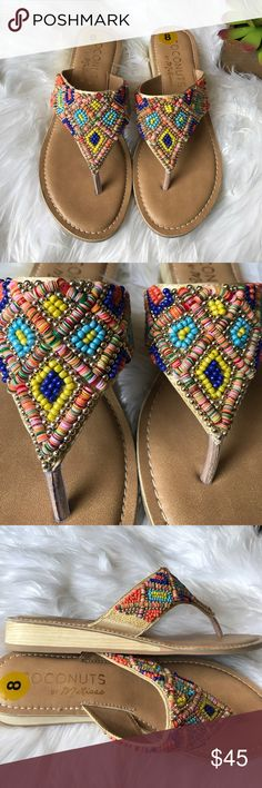 💙HP💙•Coconut by Matisse Sandals• Colorful beaded sandals/new without box/pls note there are some marks in the heel of one sandal(see last pic)/faux leather upper/padded insole/thanks for looking💗 Free People Shoes Sandals