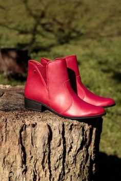 Bota Vermelha 136829 Country Life, 1, Ankle, Fashion, Beige Boots, Red Boots, Brown, Rouge, Black