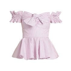 Caroline Constas Artemis off-the-shoulder cotton top ($395) ❤ liked on Polyvore featuring tops, pink stripe, off shoulder peplum top, pink striped top, pink peplum top, off the shoulder tops and flare top