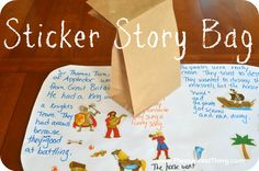Sticker Story Bag from The Pleasantest Thing. Kids randomly pull stickers from a bag to inspire a story. What a great way to get children writing this summer!