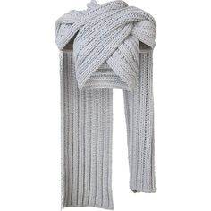 Christian Siriano knitted wrap scarf ($798) ❤ liked on Polyvore featuring tops, grey and christian siriano