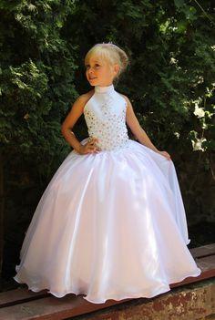 Designer Cheap Organza Pink Flower Girls Dresses 2016 High Neck tutu Ritzee Long Girl Pageant Gowns Beads Full Length Prom Dresses For Teens