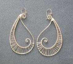 Hammered wired swirl drop earrings Nouveau 56 by CalicoJunoJewelry on Etsy https://www.etsy.com/listing/89517478/hammered-wired-swirl-drop-earrings