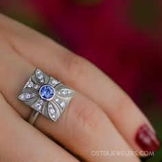 A unique shield shape, that something blue & vintage vibe for engagement rings this season. Vintage bridal collection by Anne Sportun. | Oster Jewelers #MyBridalStyle #MyDiamondStyle