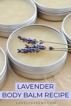 Easy recipe and instructions for making natural lavender body balm. Recipe includes shea butter, beeswax, and pure lavender essential oil - Natural Lavender Body Balm recipe + instructions Diy Lotion, Lotion Bars, Natural Beauty Tips, Natural Skin Care, Beeswax Recipes, Salve Recipes, Lip Balm Recipes, Soap Recipes, Lavender Recipes