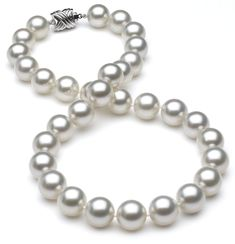 11 x 11.9mm TRUE AAA White South Sea Pearl Silver Overtone Necklace