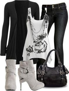 Black jean White Shirt High Heels Shoes And Black Handbag