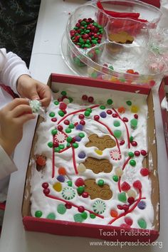 "Gingerbread Shadow boxes - could also use sugar cubes to make igloos in the ""snow"" as a polar theme"