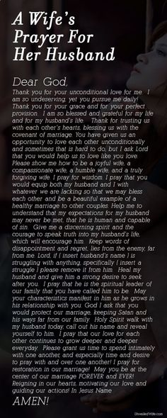 A Wifes Prayer For Her Husband ~ In the midst of all the pins bashing their husbands, pray for him!