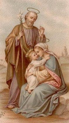 SAGRADA FAMILIA, EJEMPLO PARA TODAS LAS FAMILIAS. AMOR VERDADERO, RESPETO, COMPRENSIÓN. TOLERANCIA Y PACIENCIA.  COMPARTIENDO LA VIDA, TODO ES MÁS SENCILLO Y SIMPLE. Catholic Art, Catholic Saints, Religious Images, Religious Art, Jesus Mary And Joseph, Saint Joseph, Catholic Pictures, Religion, Vintage Holy Cards