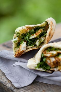 Sarah Raven's perfect quick lunch or picnic food, these tasty halloumi pittas taste fresh and have a great combination of textures.