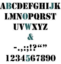 Spécimen Stencil - À l'origine ce caractère était un dérivé du Clarendon. Très lisible, le Stencil est traditionnellement utilisé dans le domaine industriel ==> https://abc.planete-typographie.com/divers/stencil.html