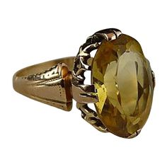 Gorgeous Art Deco 14K Citrine Ring ***ALSO SEE Best Vintage Jewelry Books: http://myclassicjewelry.com/Books.htm
