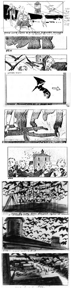 JENNY-  The storyboard is used to plane out various frames of a particular scene in a film. It is a great example of graphic sequence as it displays a sequential movement and frames in the film.   This is a story board from Hitchcock's Bird and shows displays a rough sketch of the various scene in a sequential manner.