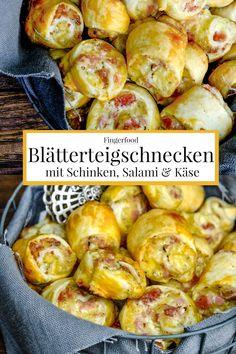 Quick party recipe: puff pastry snails with ham, s Schnelles Party Rezept: Blätterteigschnecken mit Schinken, Salami und Käse. Puff pastry snails with ham, salami and cheese recipe # Puff pastry - Seafood Recipes, Snack Recipes, Dinner Recipes, Chicken Recipes, Beef Recipes, Recipe Chicken, Meatloaf Recipes, Salmon Recipes, Fish Recipes