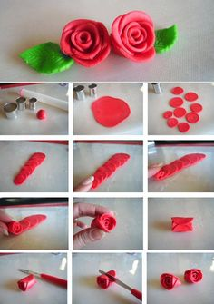 This weekend is a busy one with the Christmas Makes Day and a Christmas wreath craft party.🌧 If you fancy giving Fondant Flower Tutorial, Fondant Flowers, Felt Flowers, Diy Flowers, Fabric Flowers, Paper Flowers, Rose Tutorial, Fondant Rose, Polymer Clay Flowers