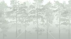 Misty Pine Forest - Green - Tapetit / tapetti - Photowall