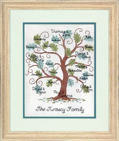 Our Curvy Oak Family Tree design in counted cross stitch offers lots of places to personalize with family names. A great family gift for grandparents to cherish. Finished size: x <br><br> This counted cross stitch kit contains:<br> Cross Stitch Family, Cross Stitch Tree, Counted Cross Stitch Kits, Family Tree Quilt, Family Tree Art, Family Life, Family Room, Cross Stitching, Cross Stitch Embroidery