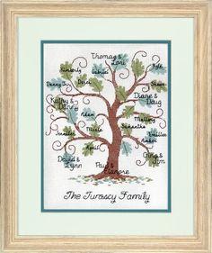Curvy Oak Family Tree Cross Stitch Pattern