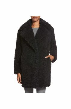Main Image - kensie 'Teddy Bear' Notch Collar Faux Fur Coat (Online Only)