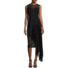 Milly Katia Sleeveless Asymmetric Sequined Tulle Sheath Dress (2.560 RON) ❤ liked on Polyvore featuring dresses, black, sweetheart neckline cocktail dress, sleeveless dress, sequin tulle dress, sweetheart cocktail dress and asymmetrical dress