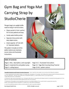 Gym Bag Sewing Pattern and Yoga Mat Carrying Strap Project : Gym Bag Sewing Pattern and Yoga Mat Carrying Strap Project Diy Yoga Bag Pattern, Bag Patterns To Sew, Sewing Patterns, Craft Patterns, Crochet Patterns, Canvas Duffle Bag, Leather Duffle Bag, Duffle Bags, Sewing Tutorials