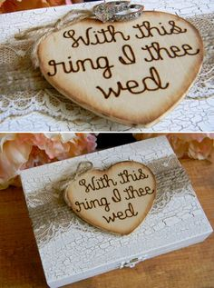 Ring Bearer Wood Box Personalized Wood Heart Divided Box Rustic Ring Box Shabby Chic Woodland Wedding Box With This Ring I Thee Wed Ringbearer Box by justforkeeps Wooden Ring Box, Wooden Rings, Wedding Boxes, Wedding Ceremony, Wedding Stuff, Wedding Ideas, Dremel Projects, Ring Bearer Box, Personalised Box