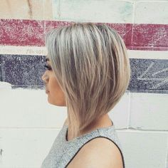 Blonde Inverted Bob with lowlights