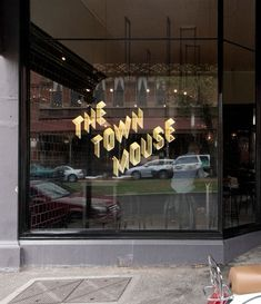 The Town Mouse Gold Metallic Type Storefront Window Decal in Typo