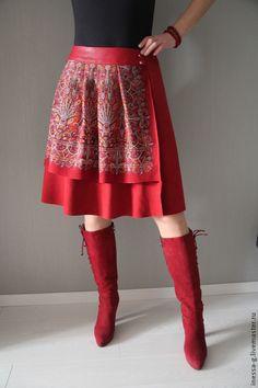 Юбки ручной работы. Ярмарка Мастеров - ручная работа Замшевая юбка в русском стиле. Handmade.