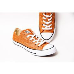 Glitter Sedona Orange Canvas Converse All Star Low Top Sneakers Tennis... ($120) ❤ liked on Polyvore featuring shoes, sneakers, canvas tennis shoes, tennis sneakers, clear sneakers, low top canvas sneakers and low top canvas shoes