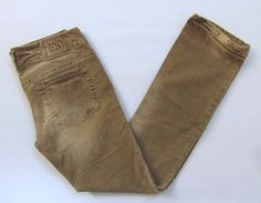 1921 By Silver Jeans 28 31.5 Straight Leg Corduroy Pants Distressed Taupe Tan #SilverJeans #Corduroys