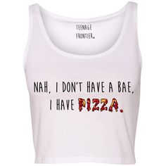 Nah I Don't Have a Bae I Have Pizza Tank Crop Top ($16) ❤ liked on Polyvore featuring tops, shirts, crop tops, tank tops, tanks, pink, women's clothing, pink tank, crop tank and checkered shirt