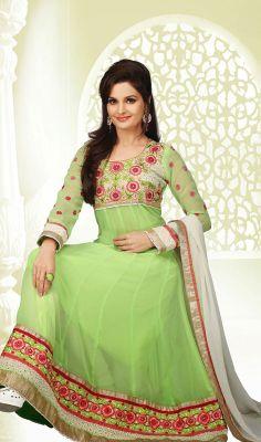 Bollywood Diva Monica Bedi Honeydew Georgette Anarkali Suit Price: Usa Dollar $94, British UK Pound £55, Euro70, Canada CA$102 , Indian Rs5076.