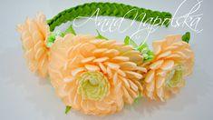 Веняний обруч з хризантемами канзаши. Весенний ободок с хризантемами. Sp...