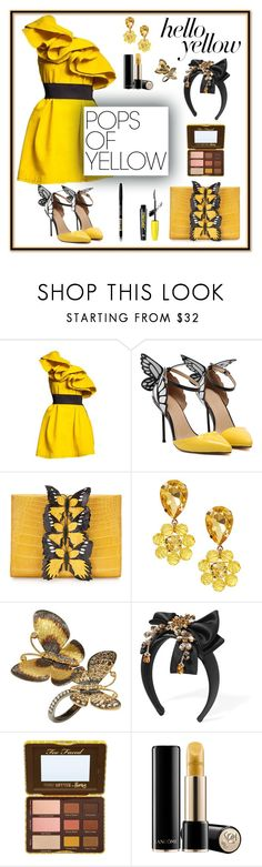 """#171: Black & Yellow Party Outfit With Butterflies"" by billsacred ❤ liked on Polyvore featuring Nancy Gonzalez, Annoushka, Dolce&Gabbana, Too Faced Cosmetics, Lancôme, Touch in Sol, PopsOfYellow and NYFWYellow"