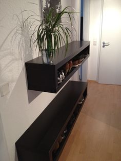 Materials: LACK TV Unit, brackets, screws, anchor bolts, buzz or jig saw Description: I had two black LACK TV units in my living room for a couple of years, when I decided to go for a completely new media rack. So I decided to re-use one of the LACK TV Units for a shoe shelf …