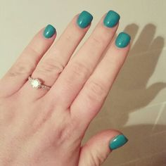 My lovely shiney new acrylic nails! Short, square, green, love