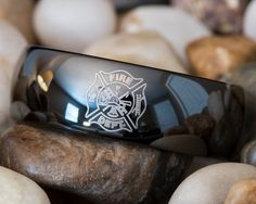 Tunsten Ring 8mm Black Dome Firefighter Design