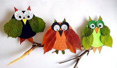Fall Crafts With Children – Owl Handicraft For Cozy Hours Autumn Crafts, Autumn Art, Nature Crafts, Leaf Crafts, Owl Crafts, Easy Crafts For Kids, Diy For Kids, Pillow Box, Preschool Art