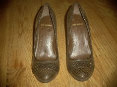 Women's Heels Faux Snake Skin Brown Size 8 By not rated