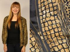 80s SILK BOMBER JACKET Vtg Animal Print Leopard Tiger Snake African Safari Pattern All over Pattern Slouchy Draped Oversized Hip Hop Hipster on Etsy, $94.00