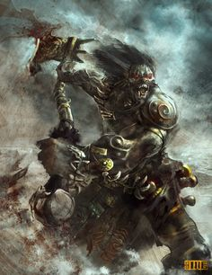 Orc Brute by on DeviantArt Fantasy Races, High Fantasy, Fantasy Warrior, Medieval Fantasy, Dark Fantasy Art, Fantasy Books, Fantasy Characters, Orc Armor, Pathfinder Character