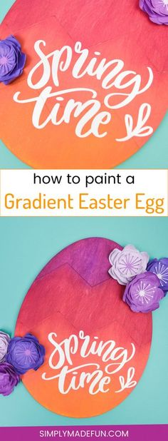 This Gradient Wooden Easter Egg from the Target Dollar Spot is bold + colorful, the perfect project to usher in Spring! Add a vinyl quote and a big ribbon and hang it on your front door for the perfect 'Welcome Spring' door decoration! Easter Projects, Easter Crafts, Diy Projects, Easter Ideas, Craft Tutorials, Vinyl Crafts, Wooden Crafts, Target Dollar Spot, Cheap Wall Decor