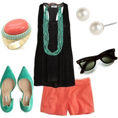 Black flowy top and coral shorts, topped off with Mint Green shell toed flats and beautiful jewelry. Color Contrast is perfect.